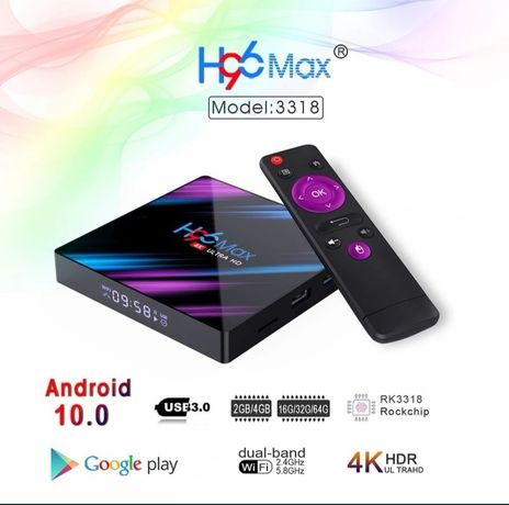 H96 max android 10 smart tv box 4gb/64gb