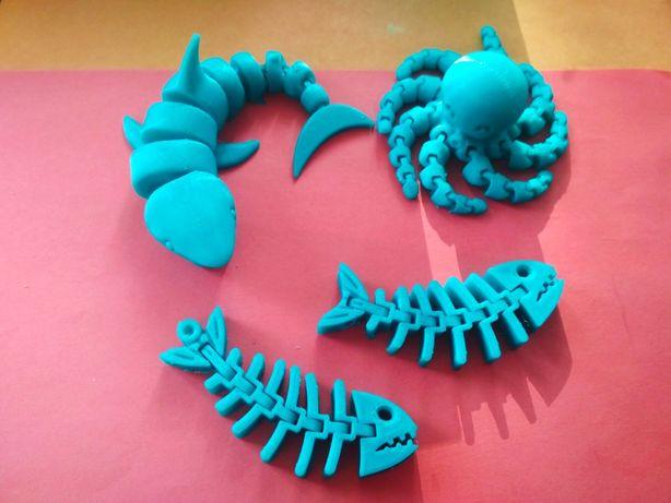 Игрушки морские обитатели, игрушка из 3d печати, акула, осьминог, рыба