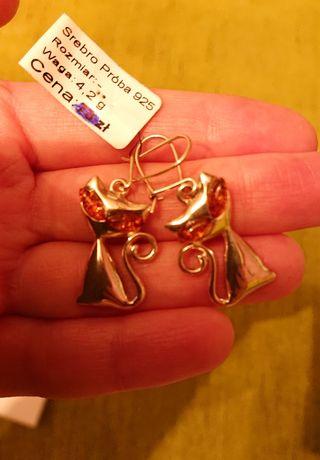 Cena ostateczna! Kolczyki srebrne srebro bursztyn koty NOWE na prezent