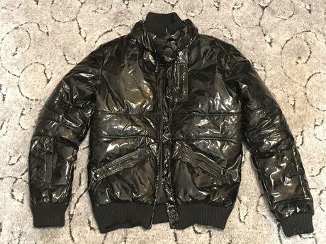 Куртка зимняя полиэстер черная  лакированная
