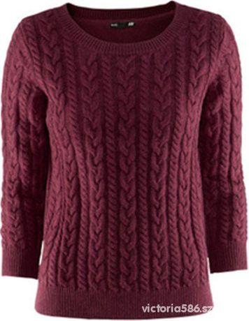 Sweter w warkocze pleciony bordowy H&M BASIC M