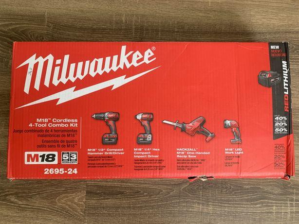 Milwaukee набор 2695-24ударна дрель,шуруповерт,сабельна