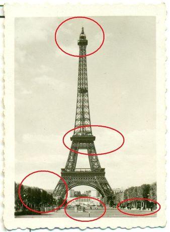 Stara fotografia Pamiątka z Paryża 1945 rok Wieża Eiflla Zdjęcie opis