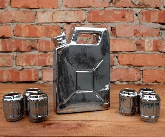 Серебряная канистра, сувенирный набор для спиртного, подарок мужчине