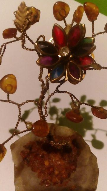 Bursztynowe drzewko szczęścia na marmurze -Amber 637