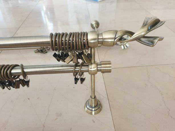 Karnisz metalowy mosiądz podwójny - 2 kpl