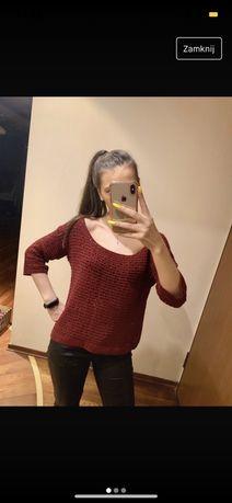 sweterek azurowy przeswitujacy bordowy M