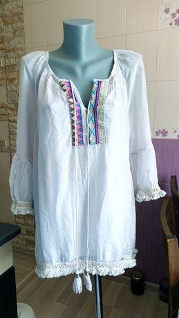 Итальянская шелковая вышиванка блуза
