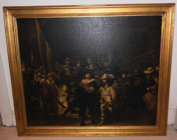 """Quadro RÉPLICA c/ moldura dourada: """"A Ronda da Noite"""", Rembrandt 1642"""