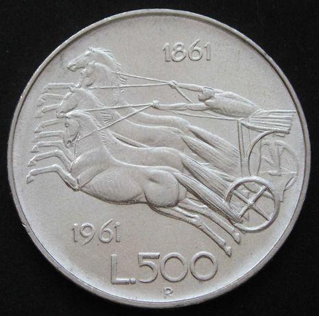 moneta Włochy 500 lirów 1961 - srebro - stan 2