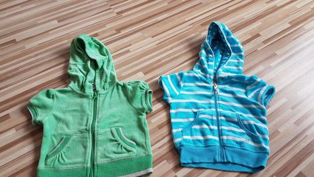 Dwie bluzy welurowe bezrękawniki niebieska i zielona