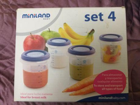 Набор контейнеров miniland baby для хранения пищи и грудного молока