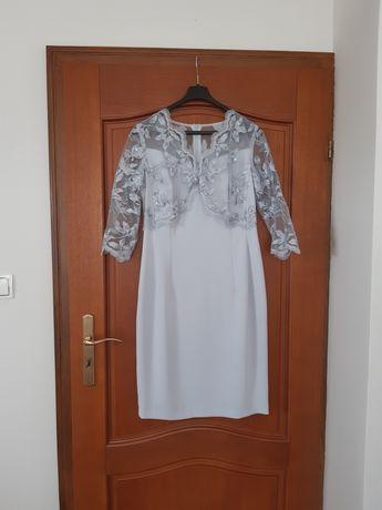 Sukienka na wesele 38 40 M L   z koronką szara dla mamy panny młodej