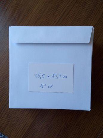 Koperty białe kwadratowe. 81szt. = 80zł