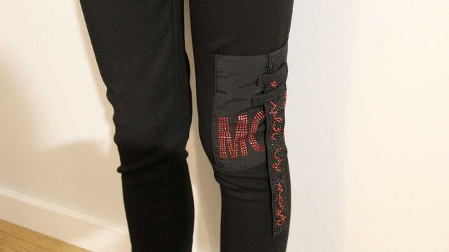 Czarne bawełniane legginsy, getry dziecięce r. 146