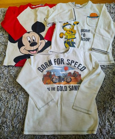 Bluzki koszulki z długim rękawem Zara r.104 3-pak + Gratis