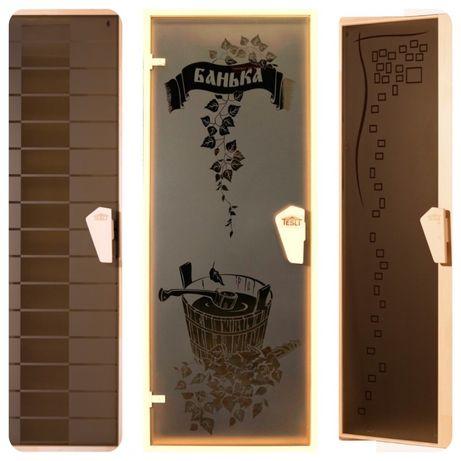 Двери в баню и сауну с рисунком