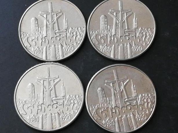 Zestaw 4 monety Solidarność 10 000 złotych 1990 PRL