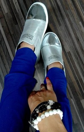 Sneakersy botki trampki damskie koturny srebrne silver