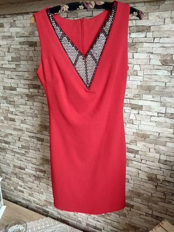 Elegancka,Czerwona mini sukienka, obcisła, roz. S