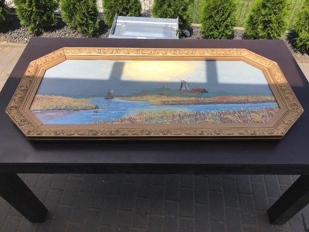 Obraz ręcznie malowany na plutnie w złotej ramie duży