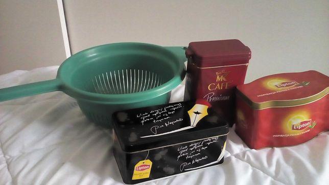 Pojemniki na herbatę lub kawę + durszlak