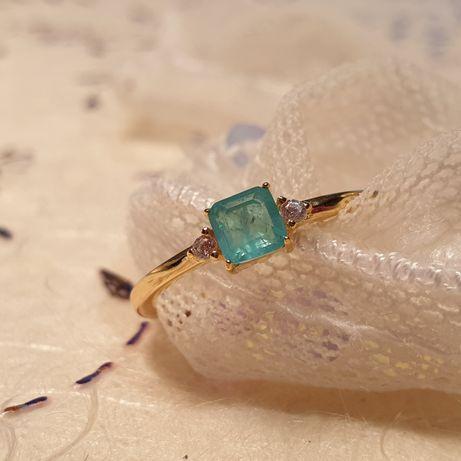 Pierścionek ze srebra z turkusowym kamieniem nowy 6~ 16,5