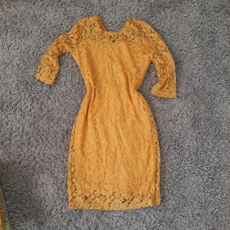 Nowa koronkowa żółta sukienka roz m wesele święta