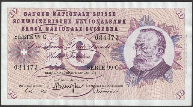 banknot Szwajcaria 10 franków 1977 - stan 2