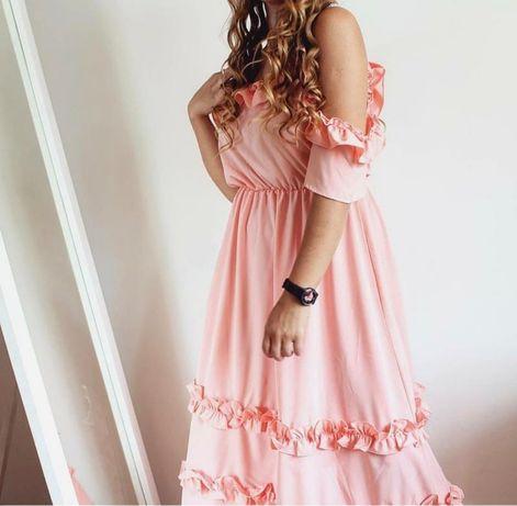 Легкое персиковое платье миди