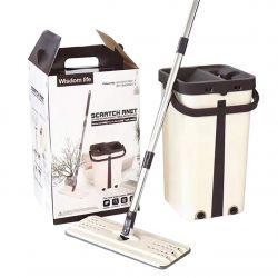 Швабра с ведром и автоматическим отжимом - комплект для уборки