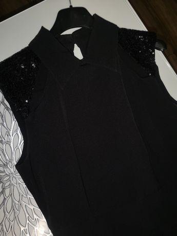 Czarna sukienka rozkloszowana cekiny na sylwestra r. 38