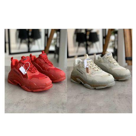 женские кроссовки Кроссовки Balenciaga Triple S Бордовые/Бежевые