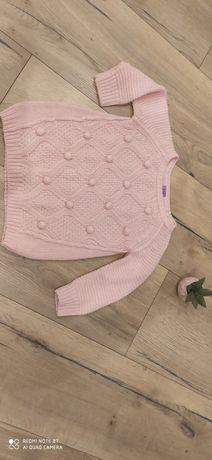 Sweterek wełniany z pomponikami 18-24 m
