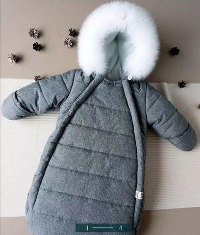 Конверт для новорожденного комбез зимний на выписку с мехом теплый