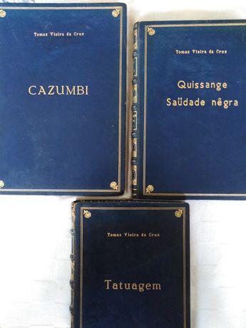 Livros de poesia angolana, de Tomaz Vieira da Cruz, encadernados.