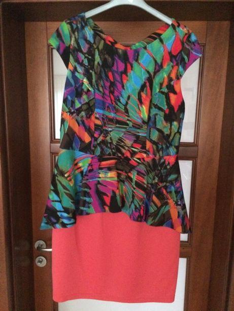 Stylowa sukienka baskinka nowa z metką rozm 46 multikolor koralowa