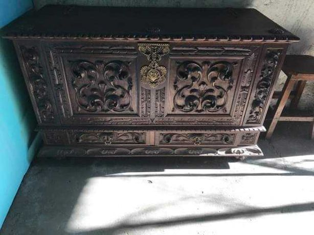 Arca vintage madeira escura
