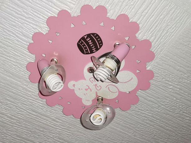 Lampa dla dziewczynki :) Różowa z misiem