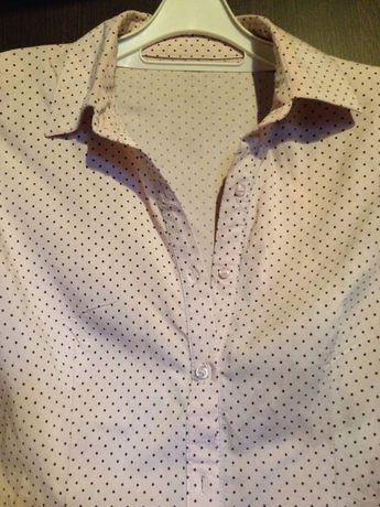 Bluzka koszula pastelowa beż róż kropki M-L F&F