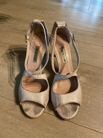 Buty ślubne skórzane , pudrowy róż