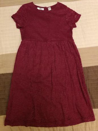 Sukienka koronkowa w kolorze bordowym rozm. 134