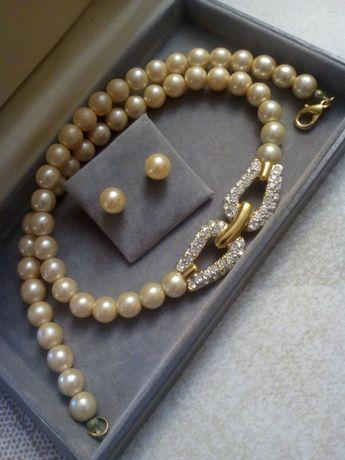 Komplet Biżuterii Naszyjnik Kolczyki Perły