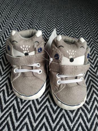 Wysyłka 1 zł Butki buty niechodki szare liski dla noworodka niemowlaka