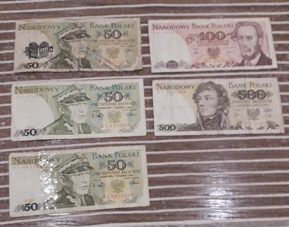 Banknoty PRL  50,100,500