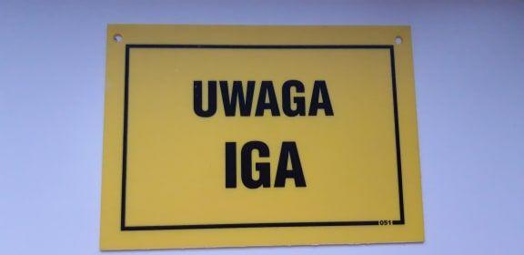 Tabliczka na drzwi - UWAGA IGA