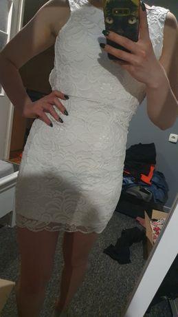 Biała koronkowa sukienka z odkrytymi plecami H&M