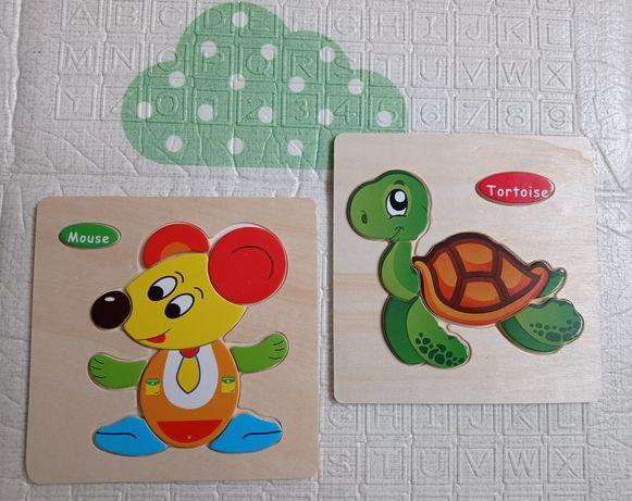 Drewniane układanki. Puzzle dla najmłodszych dzieci.
