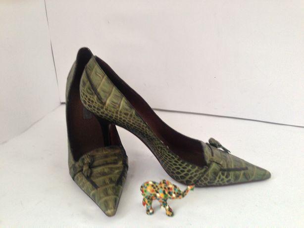 Шикарные туфли-кроко-Alberta Feretti-Италия-оригинал