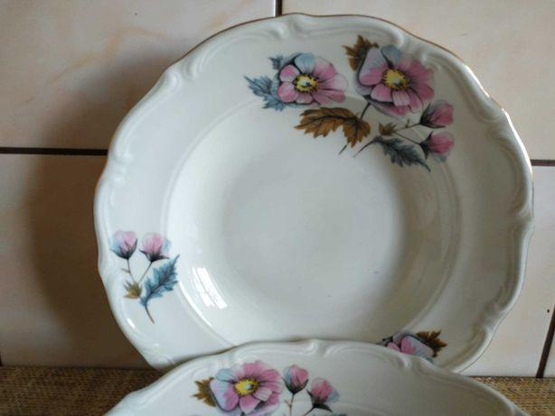 Sprzedam dwa piękne głębokie talerze Katowice-Bogucice kwiaty wzór
